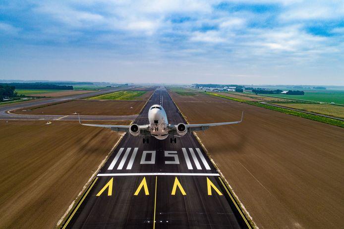 Fotomontage van Lelystad Airport.