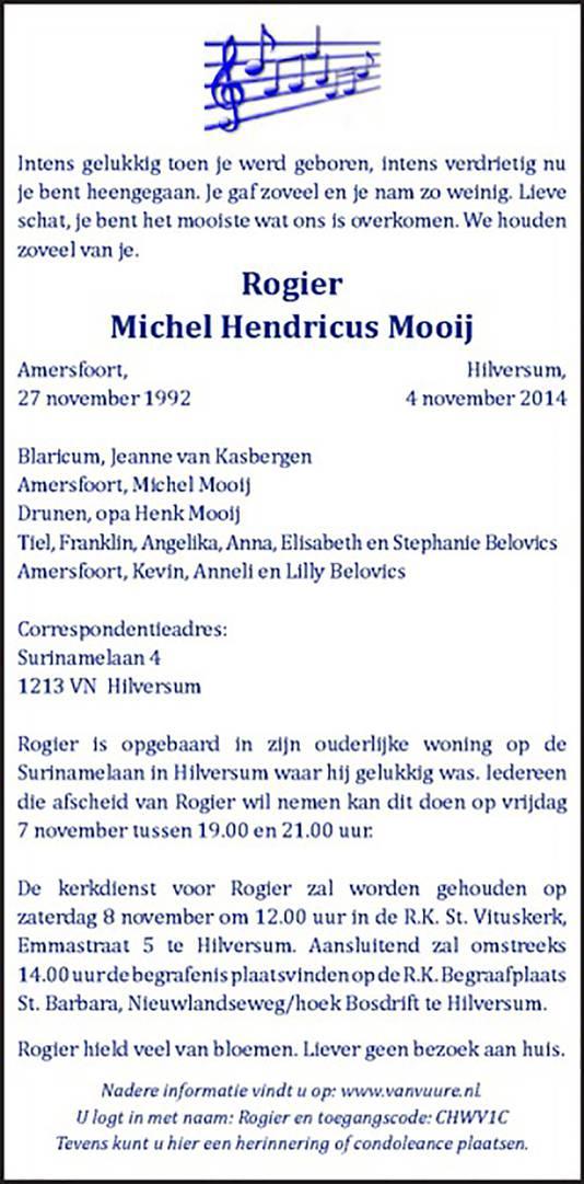 De overlijdensadvertentie van Rogier