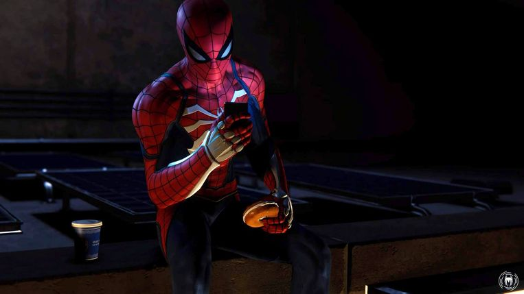 Ook Spider-Man neemt af en toe een koffiepauze.
