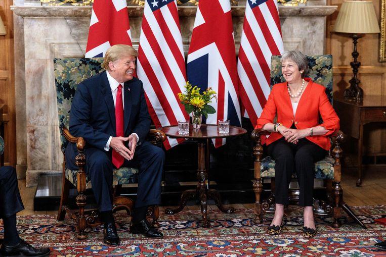 Donald Trump en Theresa May in het buitenverblijf Chequers van de Britse premier.