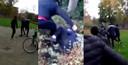 De politie heeft een filmpje van een van de mishandelingen in handen. Dit zijn stills uit videobeelden.