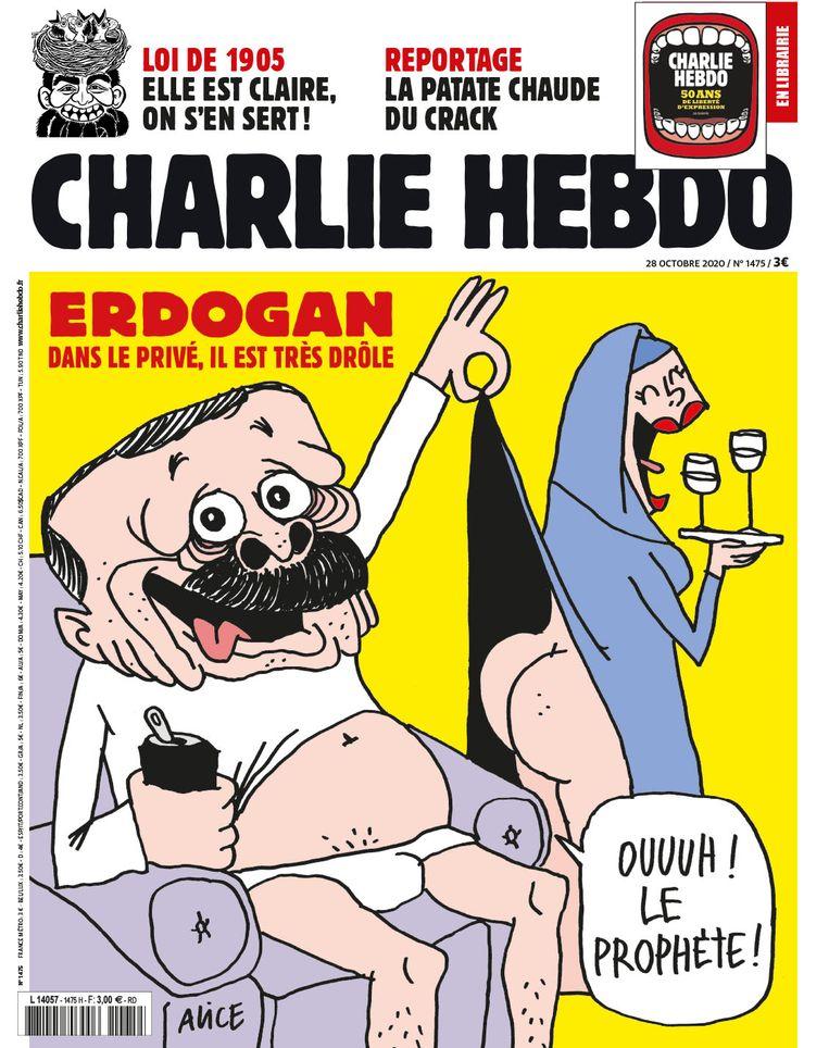 Erdogan op de nieuwste cover van Charlie Hebdo. Beeld Charlie Hebdo