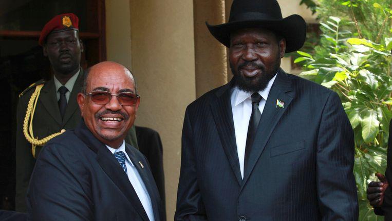 De Soedanese president Bashir (links) en de leider van Zuid-Soedan Kiir Beeld REUTERS