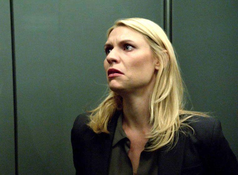 Claire Danes als Carrie in Homeland. Beeld