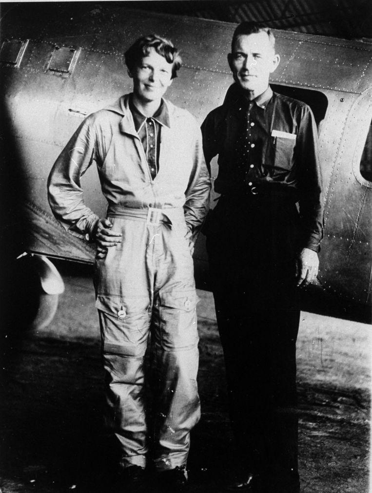 Amelia Earhart en haar navigator Fred Noonan.