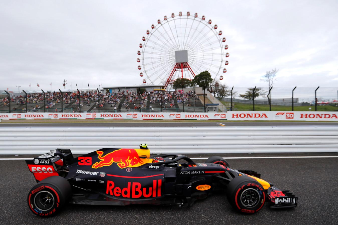 Max Verstappen in 2018 op het Suzuka circuit.