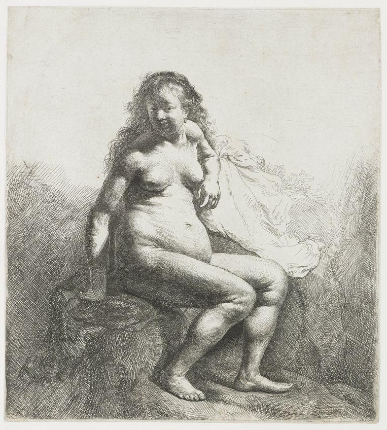 Rembrandt van Rijn, Naakte vrouw, gezeten op een verhoging, 1629 - 1633.  Beeld Rijksmuseum