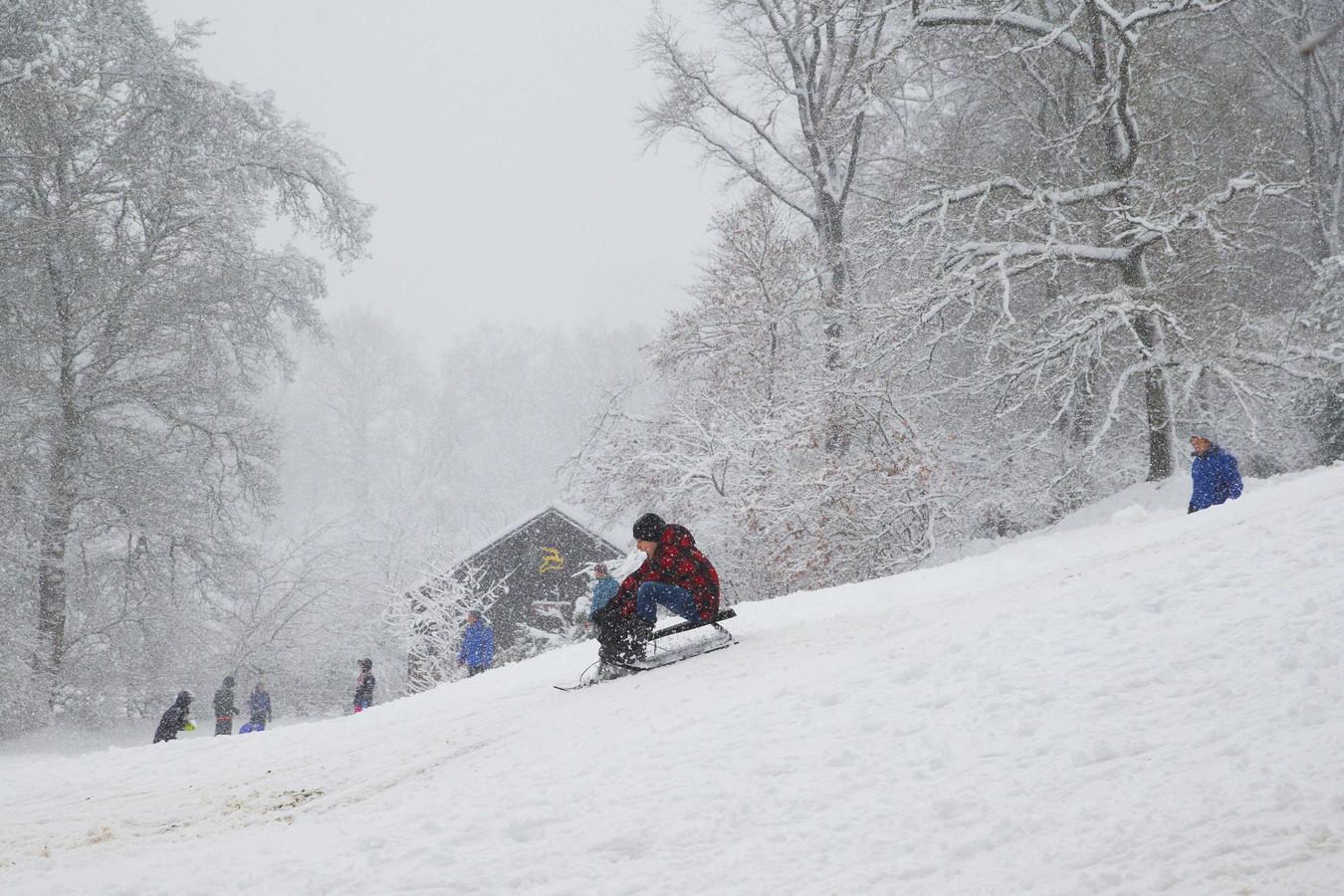 Sneeuwpret op de Hoge Veluwe in december vorig jaar.