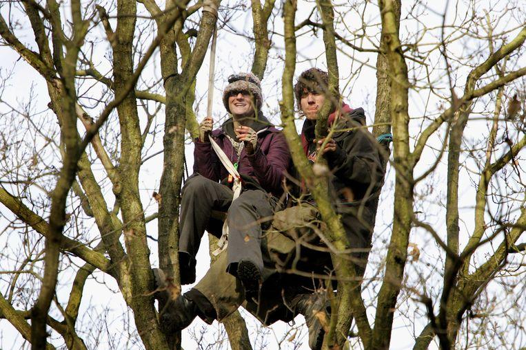 2006: actievoerders protesteren tegen het kappen van bos in Schinveld. Beeld anp