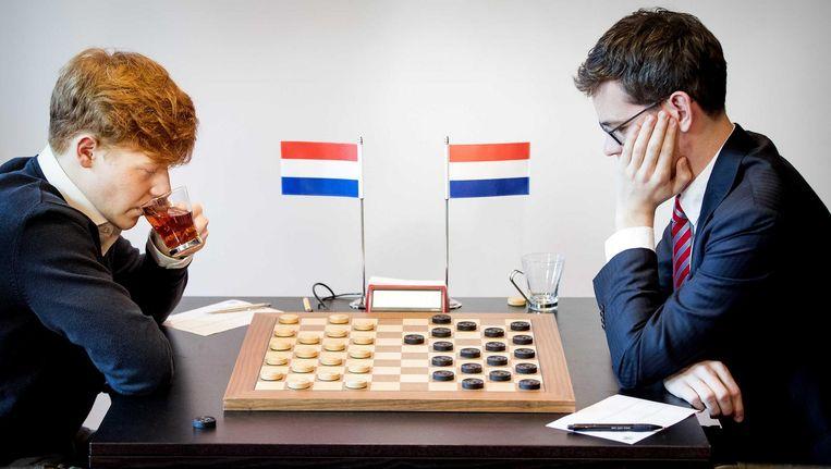 De tweede WK-partij tussen Groenendijk en Boomstra. Beeld ANP
