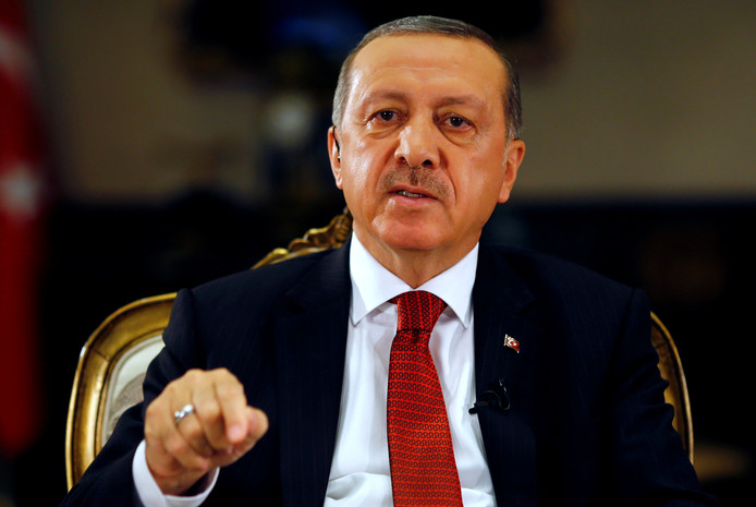 De Turkse president Recep Tayyip Erdogan op archiefbeeld.