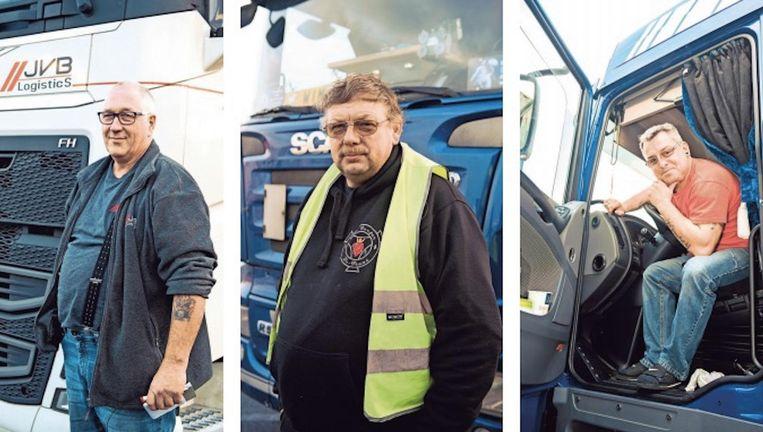 Chauffeurs Fred Bakker, Wim Eyckmans en Gert Philtjens.