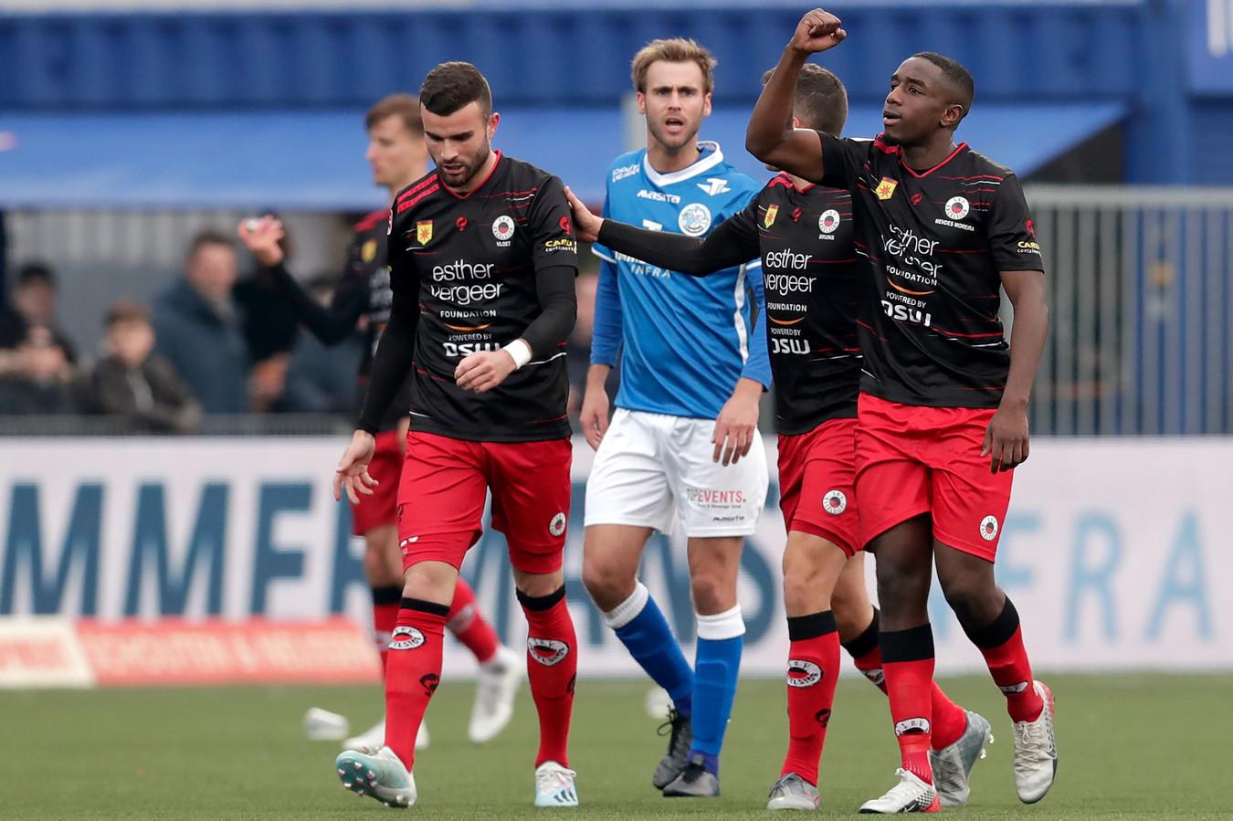 Ahmad Mendes Moreira juicht na zijn goal namens Excelsior tegen FC Den Bosch afgelopen zondag.