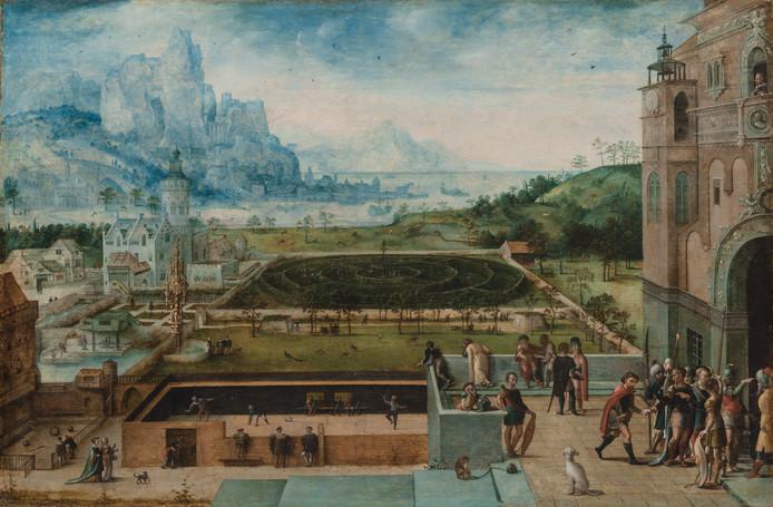 Lucas Gassel, Panoramisch uitzicht op een Renaissancepaleis met David en Bathseba. Vooraan is het eerste geschilderde tennisveld uit de kunstgeschiedenis te zien.