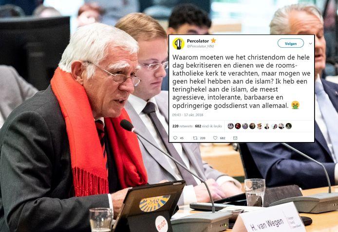 BPA-raadsleden Hans van Wegen (links) en Ralph Langendam. Rechts de gewraakte tweet.