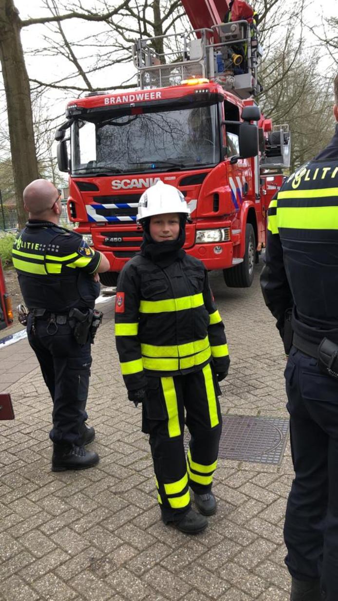 Len van den Bosch is al lid van de Jeugdbrandweer Dongen.