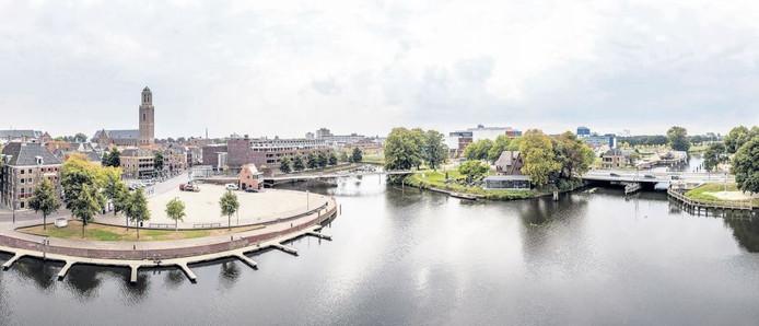 Het uitzicht over de stad vanuit de appartamenten is fenomenaal. Maandag krijgen de eerste bewoners in complex De Stelling de sleutel. Foto: Frans Paalman