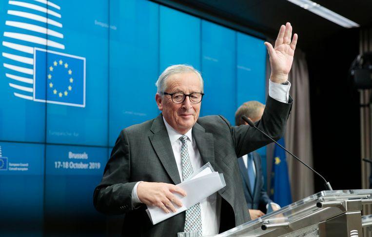 Jean-Claude Juncker na afloop van zijn laatste persconferentie op een EU-top. Beeld EPA