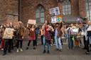Klimaatprotest in mei van Extinction Rebellion op de Markt in Wageningen.