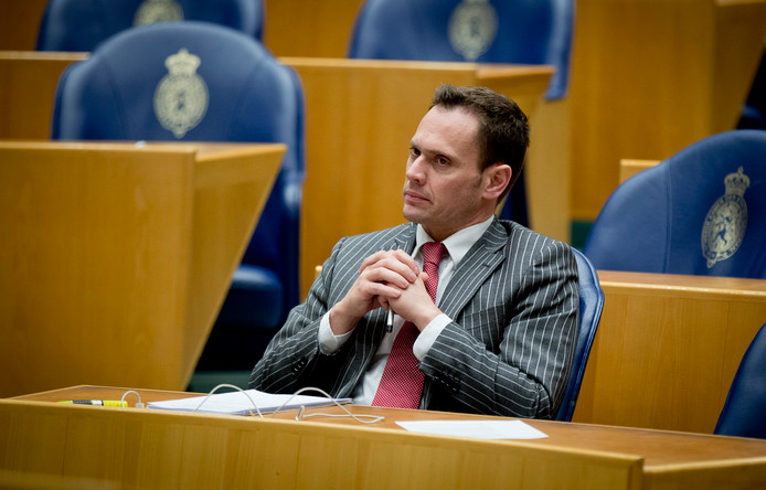Kamerlid Sjoerd Potters (VVD) tijdens het debat in de Tweede Kamer over de invoerings van de Participatiewet.