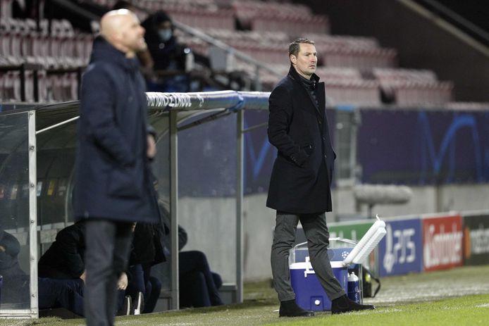 FC Midtjylland coach Brian Priske tijdens de UEFA Champions League-wedstrijd tussen FC Midtjylland en Ajax.
