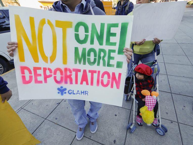 Een demonstratie voor soepeler immigratiewetten in de VS in Atlanta. Beeld epa