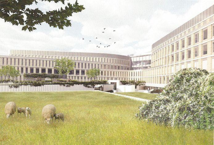 De beoogde nieuwbouw, zoals ontworpen door Wiegerinck Architecten.