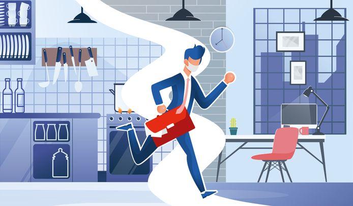van keukentafel naar kantoor illustratie BD /Getty images