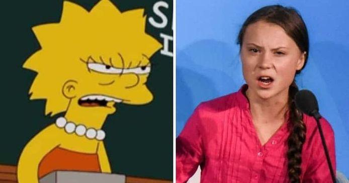 Lisa Simpson en Greta Thunberg.