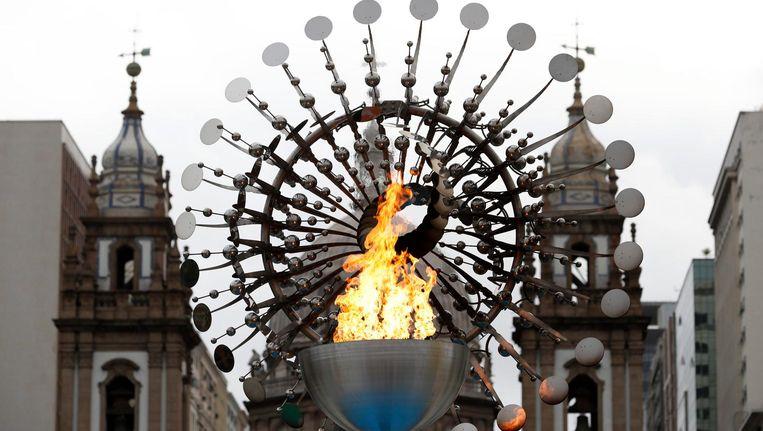De olympische vlam in Rio de Janeiro. Beeld epa