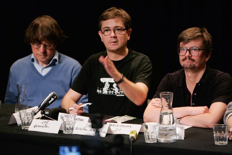 Cartoonists van Charlie Hebdo Cabu, Charb en Luz in 2011. Beeld getty