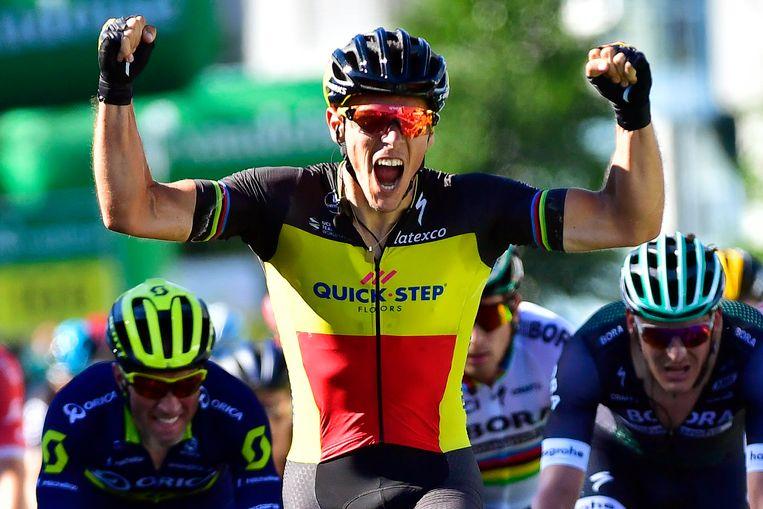 Gilbert bij z'n laatste overwinning in de Ronde van Zwitserland vorig jaar.