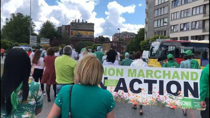 Manifestation du secteur non-marchand à Charleroi à l'appel de la CNE