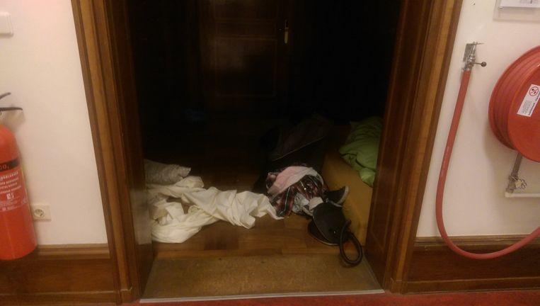 Studenten slapen in het Maagdenhuis. Beeld Heleen van Lier