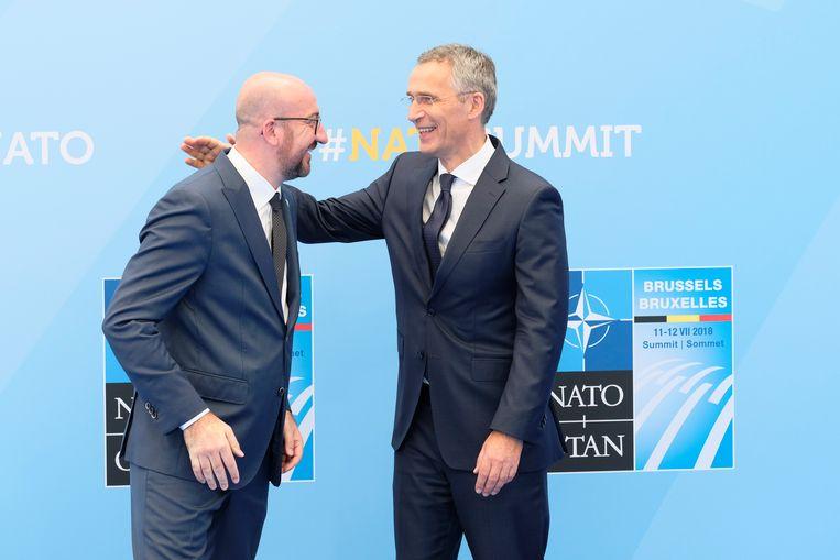 Premier Michel met NAVO-secretaris-generaal Stoltenberg.