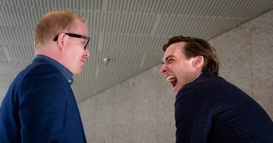 In de aanloop naar het Oekraïne-referendum trokken Jan Roos (l) en Thierry Baudet nog samen op. Bij de komende Kamerverkiezingen zijn ze elkaars tegenstander.