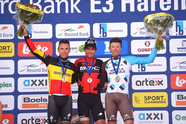 In de E3 klopte Van Avermaet Gilbert en Naesen in een sprint.