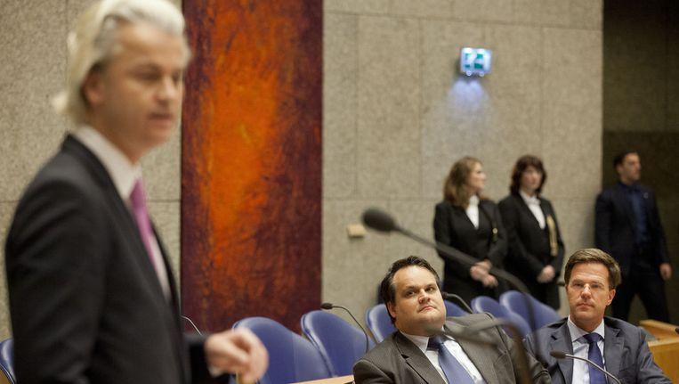 Geert Wilders aan het woord tijdens het debat. Beeld ANP