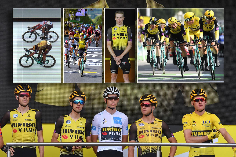 Jumbo-Visma. Inzetjes, vlnr: Dylan Groenewegen, Wout van Aert, Steven Kruijswijk en de ploegentijdrit met geletruidrager Mike Teunissen.