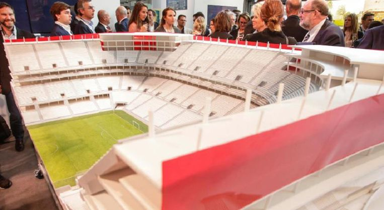 De maquette van het Eurostadion dat er nooit komt.