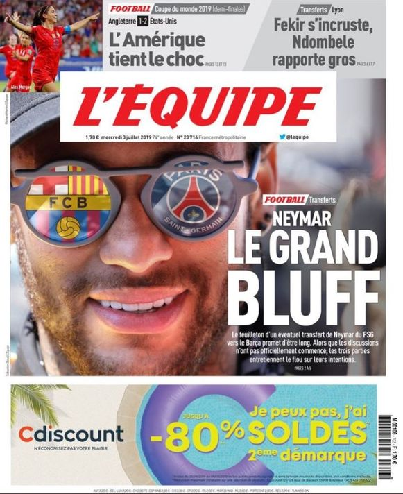 De cover van L'Equipe van vandaag.