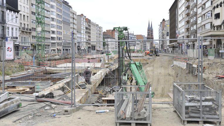 De werken aan de Antwerpse Leien.