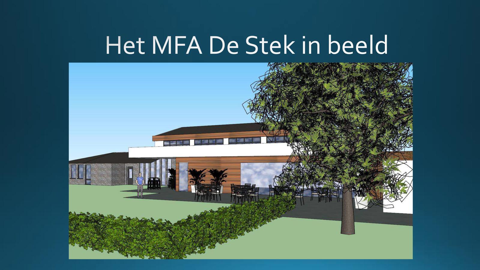 Beeld uit de presentatie van Landhorst. Het dorp wil gemeenschapshuis De Stek en de gymzaal samenvoegen.