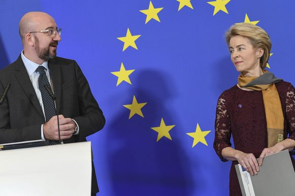Europees Raadsvoorzitter Charles Michel en voorzitter van de Europese Commissie Ursula von der Leyen.