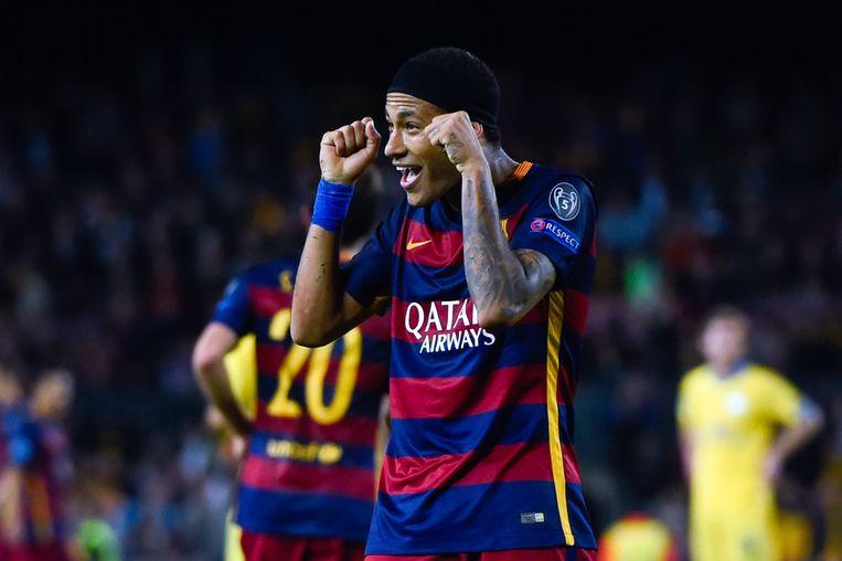 Neymar viert zijn goal tegen Bate, de derde van Barcelona. Beeld getty