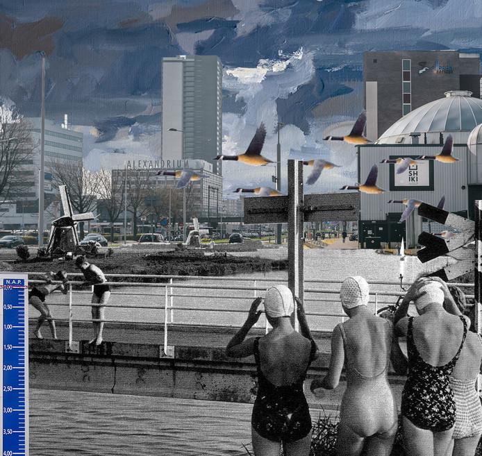 Architect Robbert Guis wil dolgraag het water terug in het gebied rond het Alexandrium. 'Wat als het originele waterrijke landschap weer ruimte krijgt in Rotterdam Alexander?'
