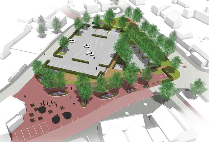 Een impressie van hoe het nieuwe Vorstermansplein in Heusden eruit komt te zien.