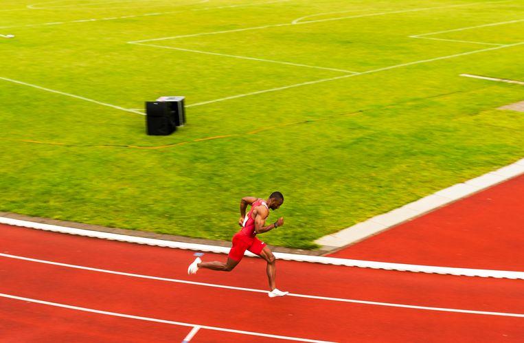 Femi Ogunode in actie op de 400 meter. Beeld Jiri Büller
