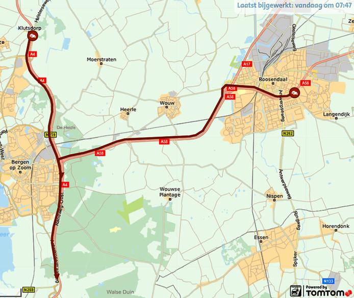 Enorme files op A4 en A58 richting Antwerpen na ongeluk met busje bij Bergen op Zoom