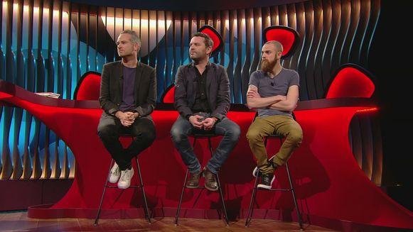 Vincent Valckx (rechts) naast Stijn Van de Voorde en Adriaan Van den Hoof in 'Mag ik u kussen?'